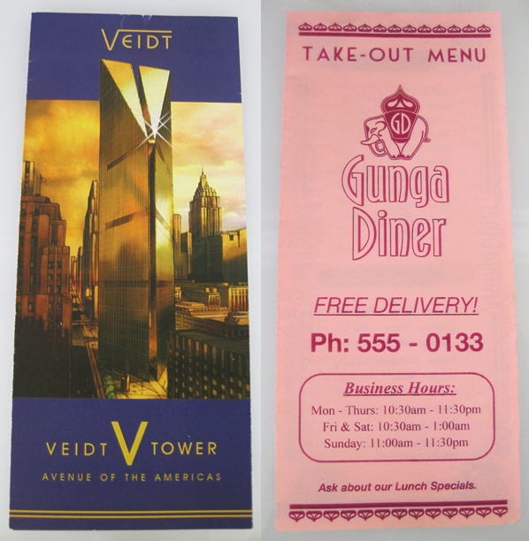 Veidt brochure and Gunga Diner menu