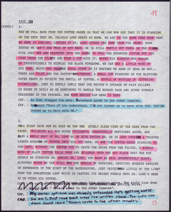 A page from Alan Morre's original Watchmen typescript